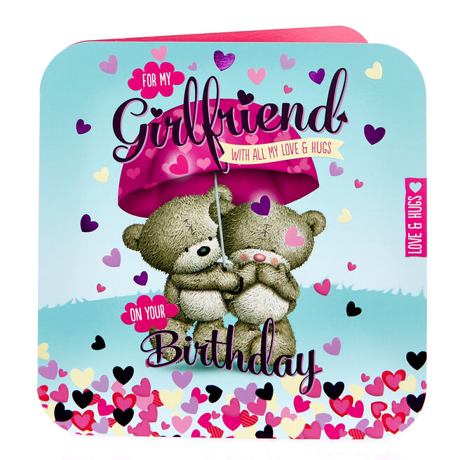 Platinum Collection Hugs Bear Birthday Card - For My Girlfriend