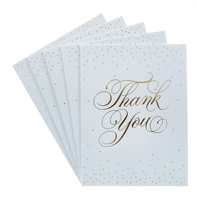 Gold Script Thank You Cards - Pack Of 12