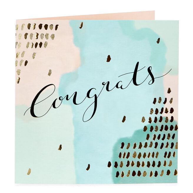 Congratulations Card - Pastels & Gold