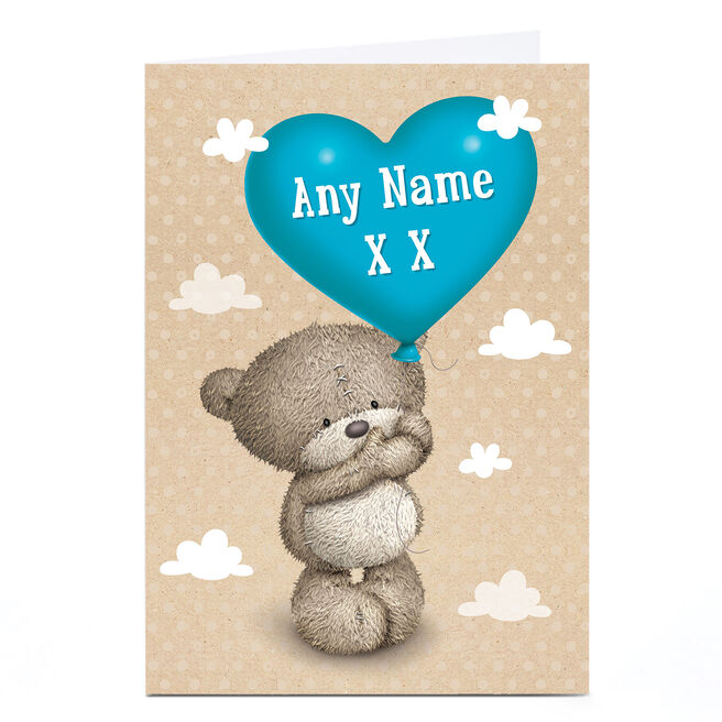 Personalised Hugs Bear Card - Blue Heart Balloon