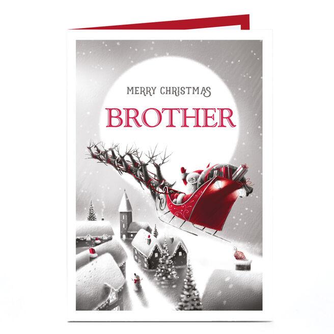 Personalised Christmas Card - Santa's Sleigh Brother