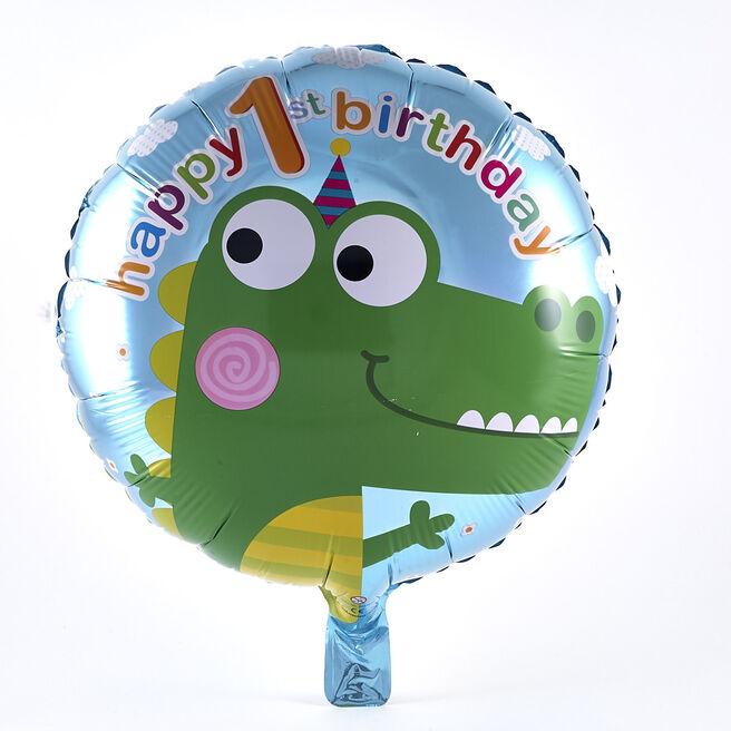 Happy 1st Birthday Crocodile Foil Helium Balloon
