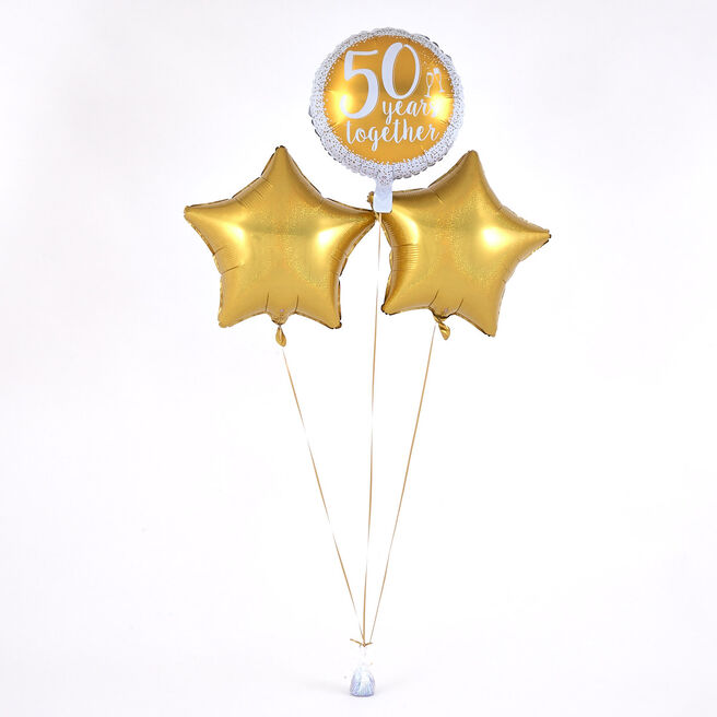 50 Years Together' Golden Wedding Balloon Bouquet - DELIVERED INFLATED!