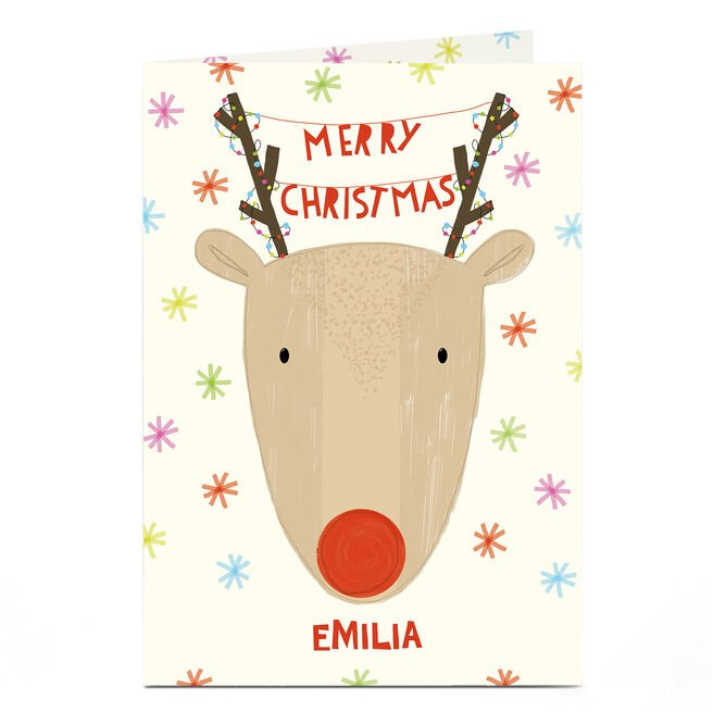 Personalised Christmas Card - Red Nosed Reindeer