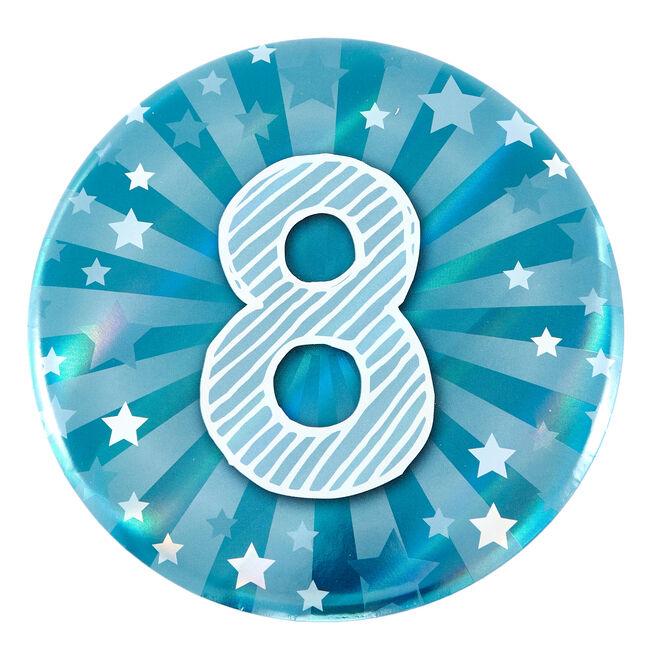 Giant 8th Birthday Badge - Blue