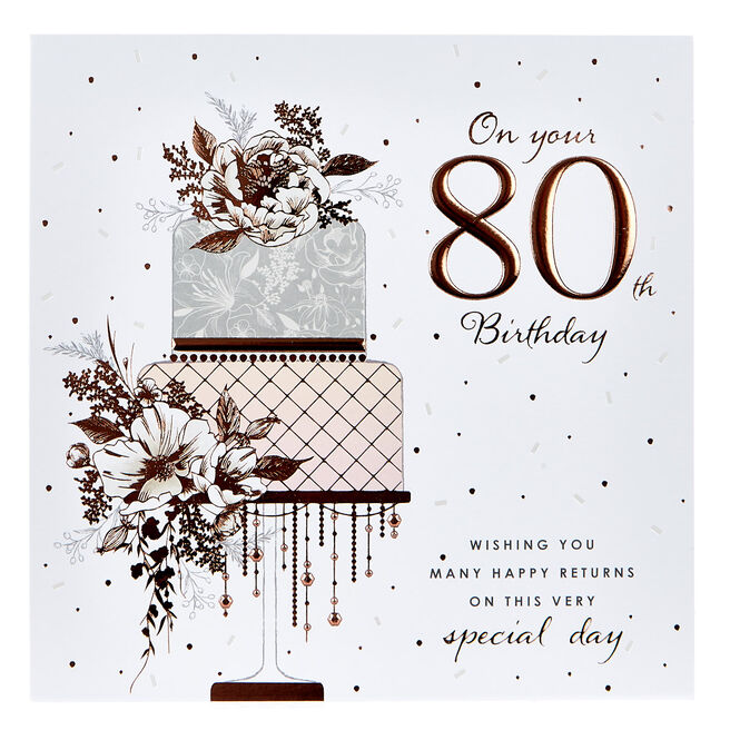 Platinum Collection 80th Birthday Card - Rose Gold Cake