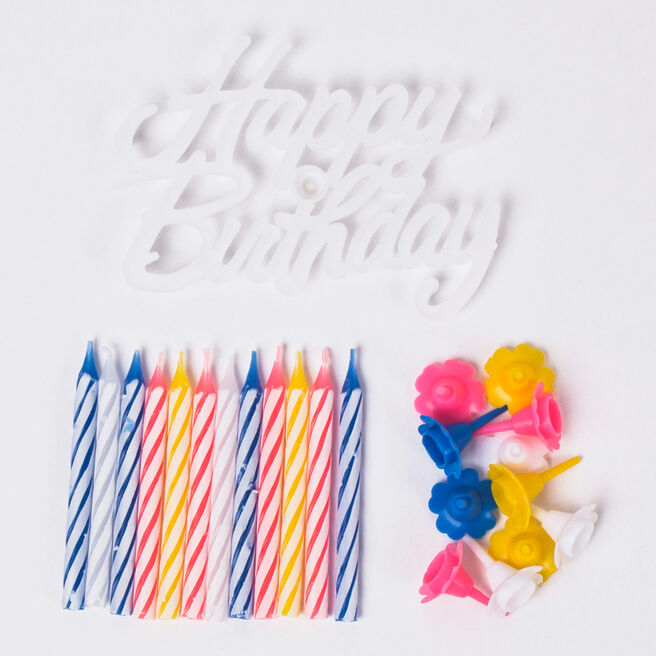 Candy Stripe Birthday Candle Set, Pack Of 12