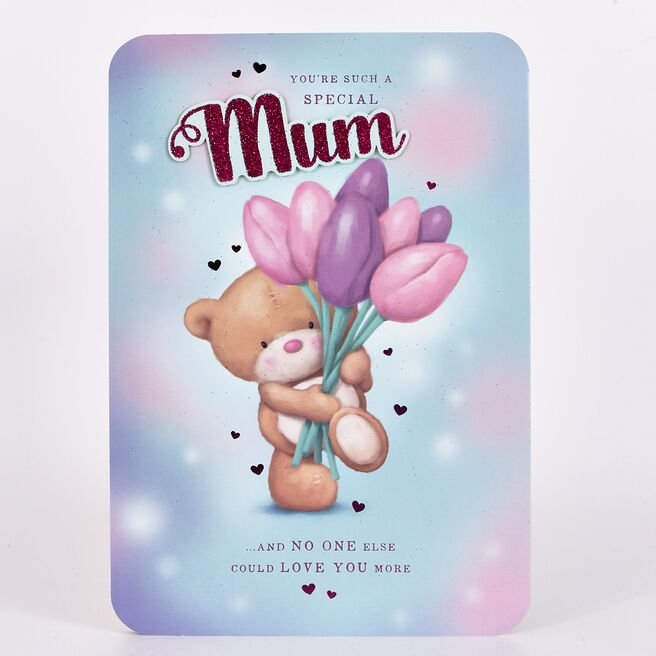 Hugs Bear Birthday Card - Mum, Tulips