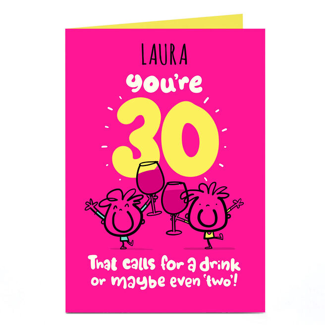 Personalised Fruitloops 30th Birthday Card -  A Drink Or 2