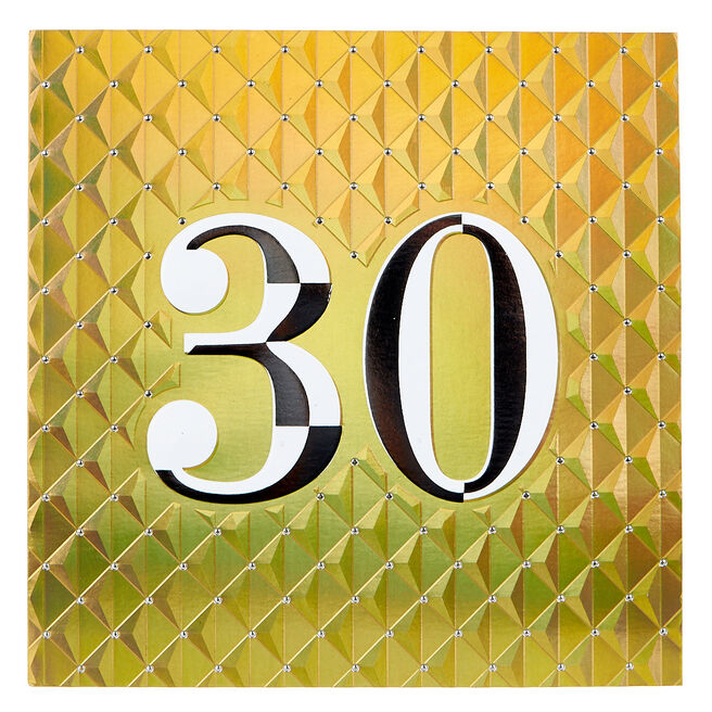 Platinum Collection 30th Birthday Card - Gold & Silver, Quilted