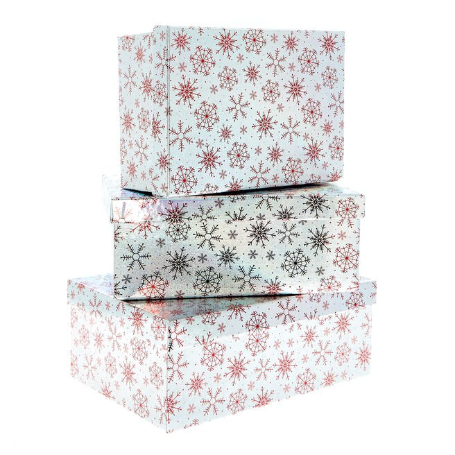 Holographic Silver Christmas Gift Boxes - Set Of 3