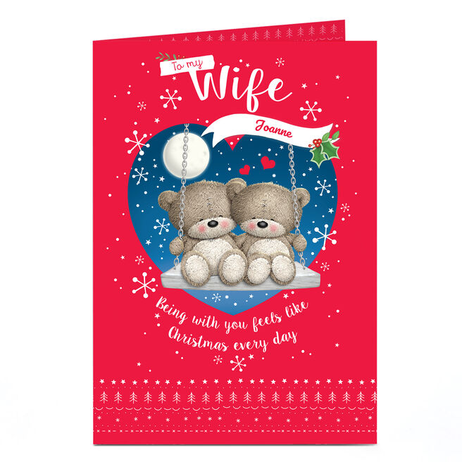 Personalised Christmas Card - Hugs Bear, To My Wife