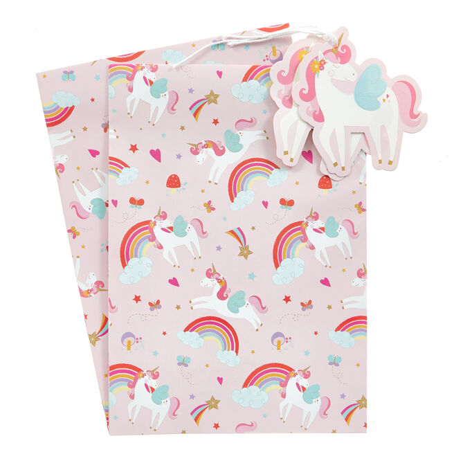 Unicorns & Rainbows Wrapping Paper & Gift Tags - Pack Of 2