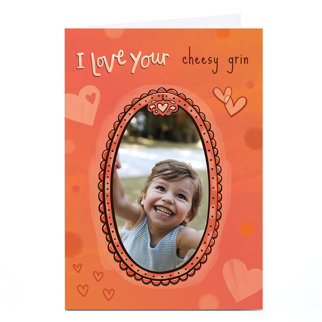 Personalised Hannah Edmonds Photo Card - Orange Photo Frame