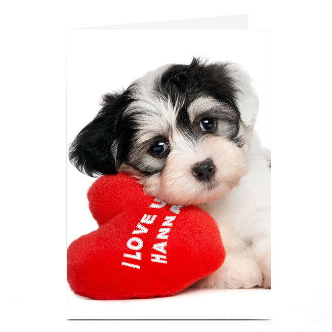 Personalised Card - I Love U Puppy