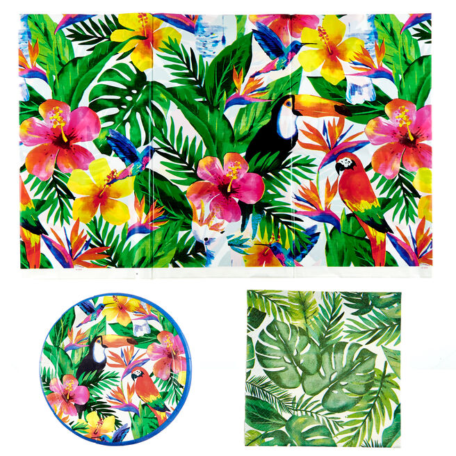 Palm Tropical Luau Party Tableware Bundle - 25 Pieces