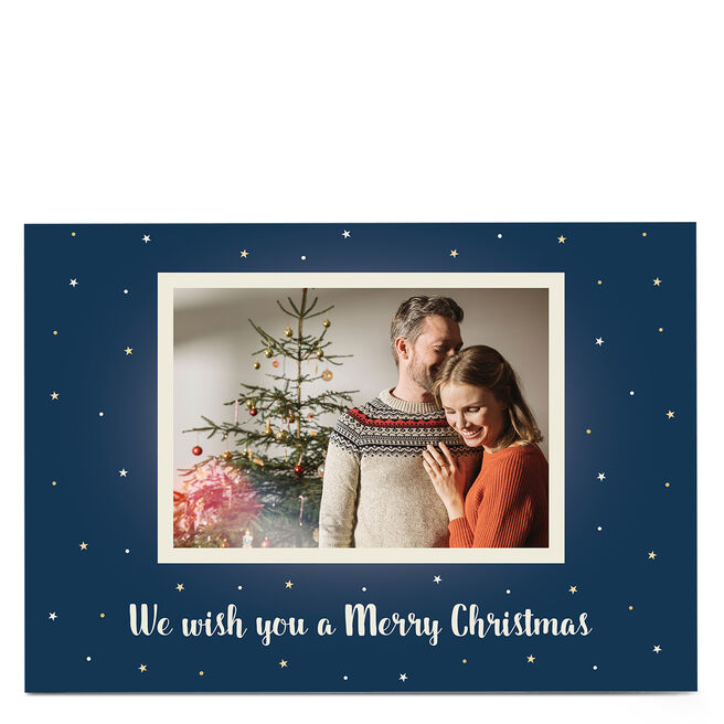 Personalised Christmas Photo Card - Blue With White Stars