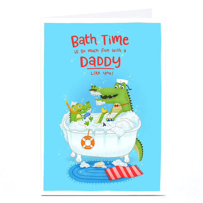 Personalised Blue Kiwi Father's Day Card - Daddy Bath Time