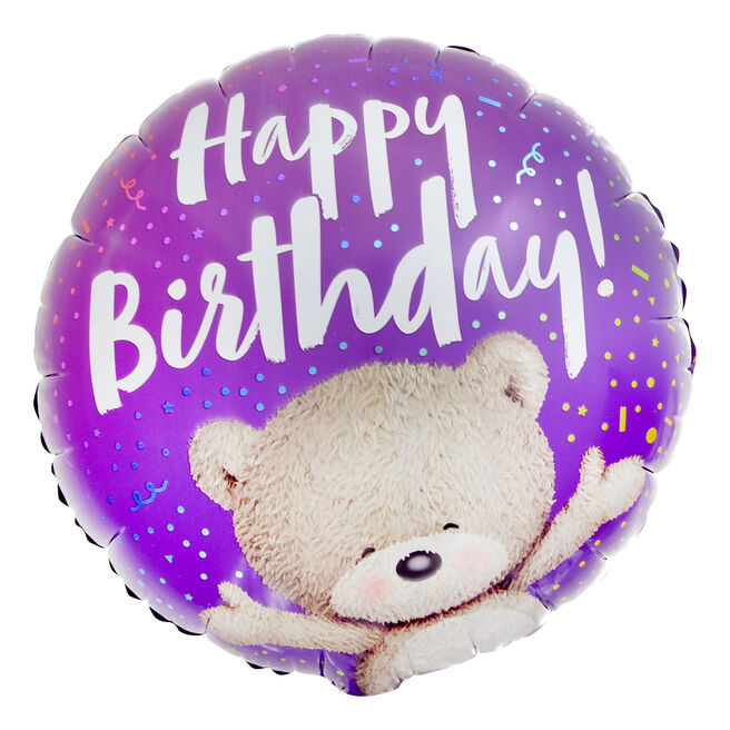 Purple Hugs Bear Happy Birthday 18-Inch Foil Helium Balloon