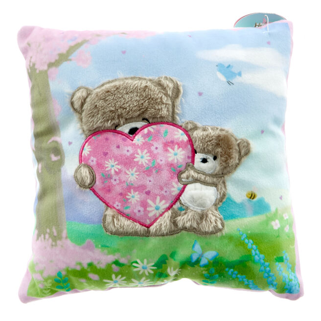 Square Hugs Bear & Heart Cushion