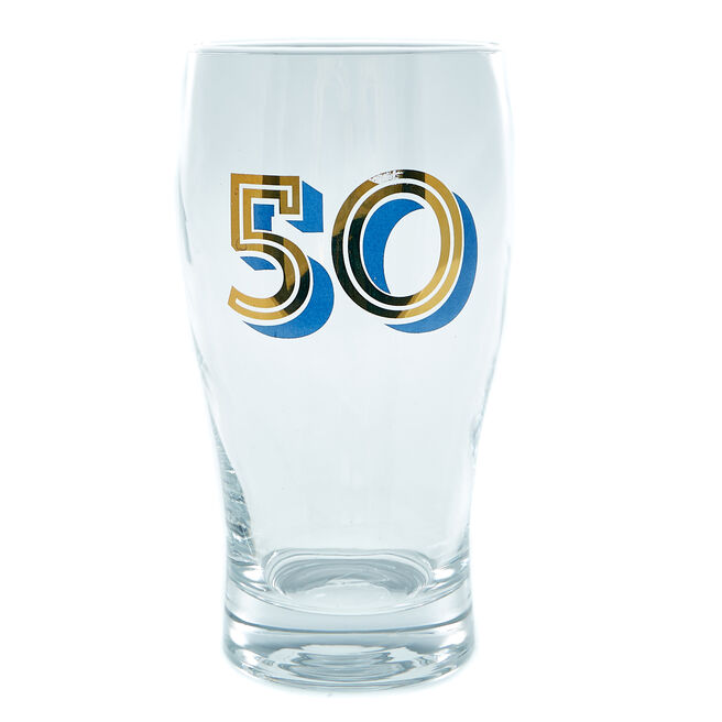50th Birthday Pint Glass In A Box - Blue & Gold