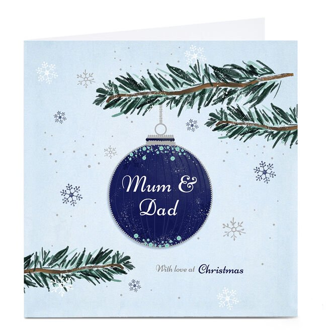 Personalised Christmas Card - With Love Bauble