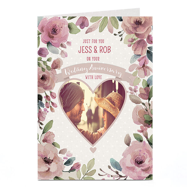 Photo Anniversary Card - Love Heart & Pink Flowers