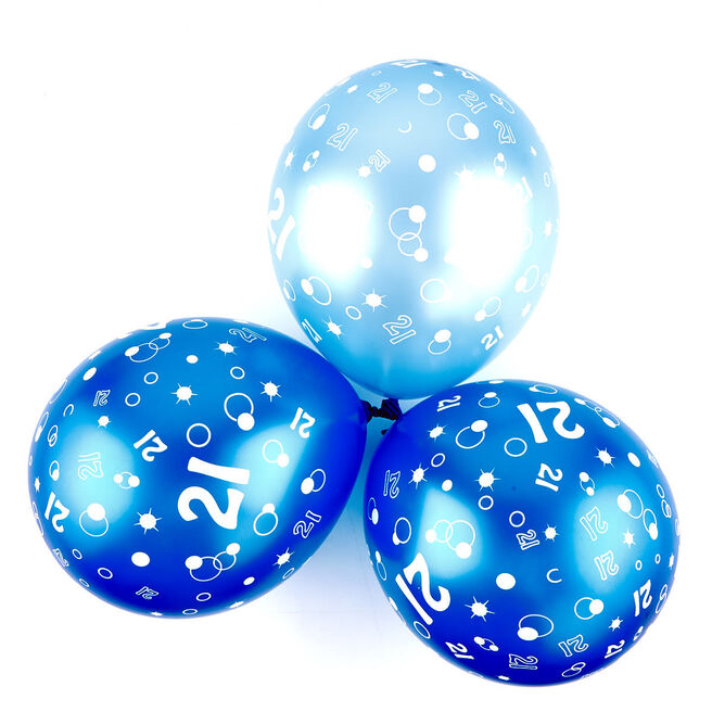 Metallic Blue Circles 21st Birthday Helium Latex Balloons - Pack Of 6