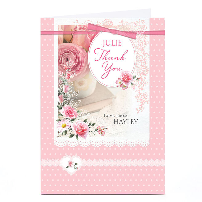 Personalised Thank You Card - Pink Roses & Lace
