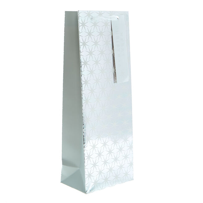White & Silver Stars Christmas Bottle Bag
