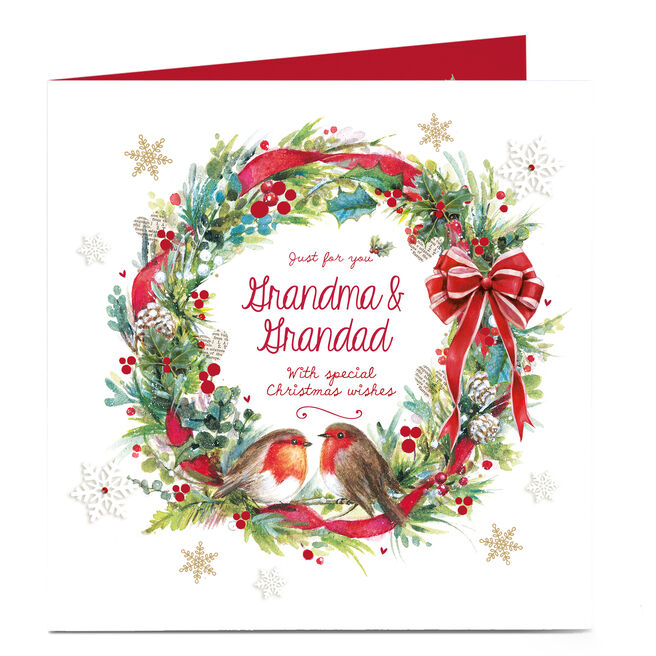 Personalised Christmas Card - Robin Wreath Grandma and Grandad