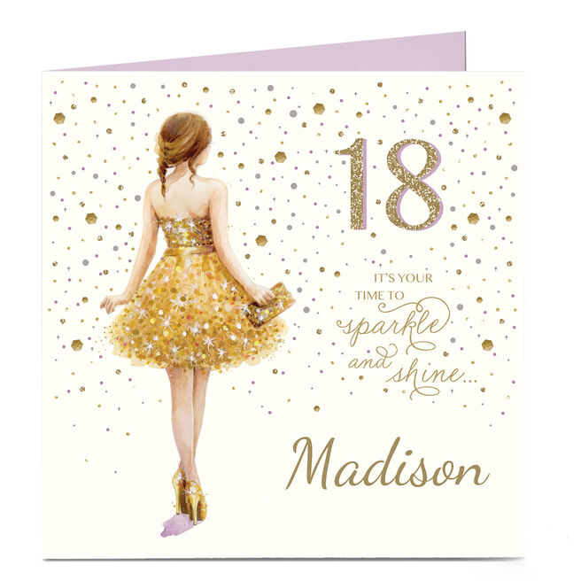 Personalised 18th Birthday Card - Your Time To Sparkle and Shine