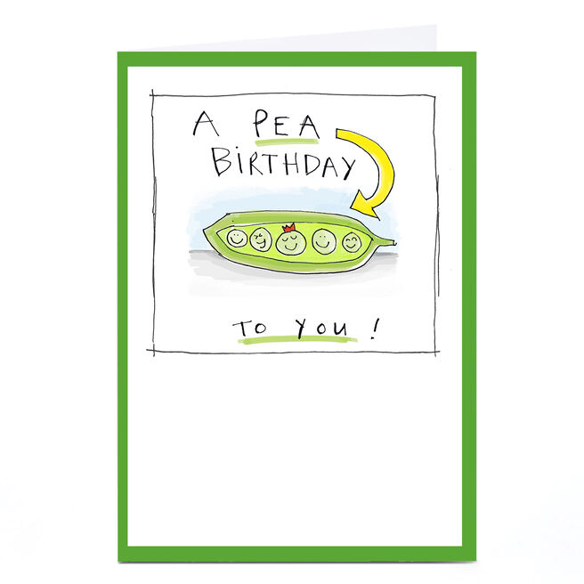 Personalised Vicar Of Scribbly Card - A Pea Birthday!