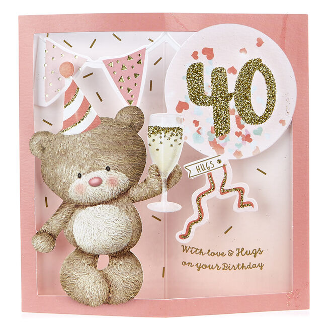 VIP Collection 3D Pop-Up 40th Birthday Card - Hugs Bear