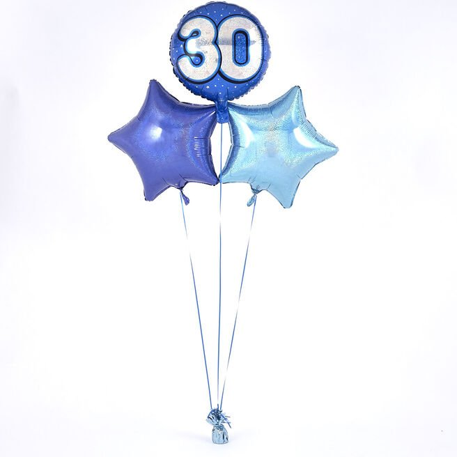 Blue 30th Birthday Balloon Bouquet - DELIVERED INFLATED!