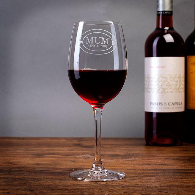 Personalised Mum Since Wine Glass