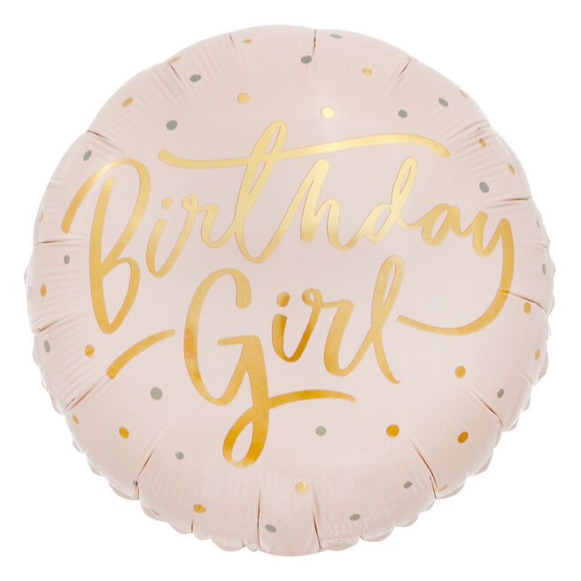 Pink & Gold Birthday Girl 18-Inch Foil Helium Balloon
