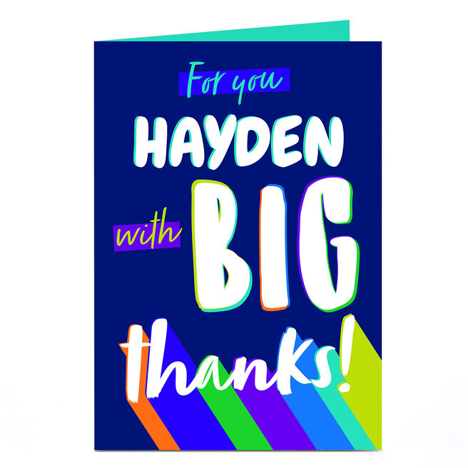 Personalised Thank You Card - Big Thanks!