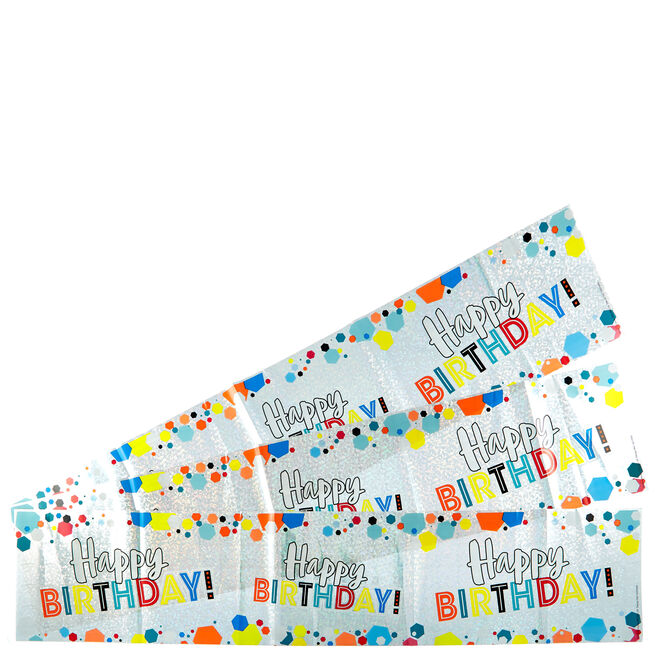 Holographic Happy Birthday Party Banners - Pack Of 3