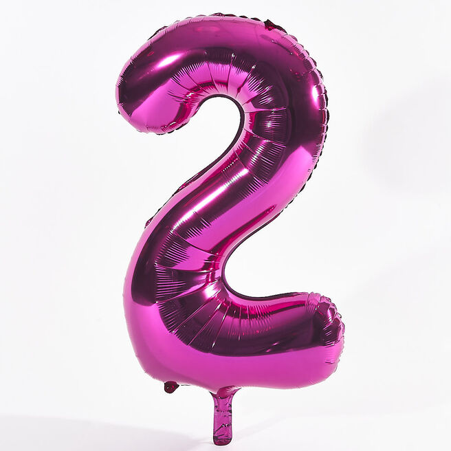 Pink Number 2 Foil Giant Helium Balloon (Deflated)