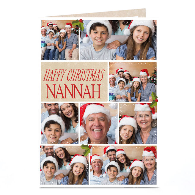 Multi Photo Christmas Card - Eight Photos & Holly Berries Nanna