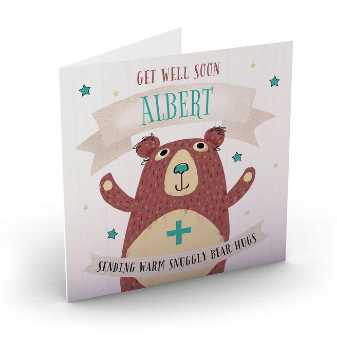 Personalised Get Well Soon Card - Bear Hugs