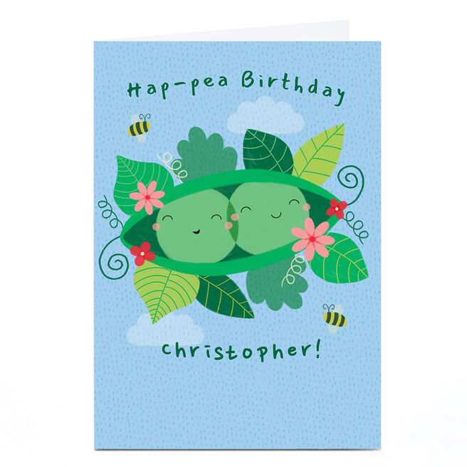 Personalised Hannah Steele Birthday Card - Hap-pea