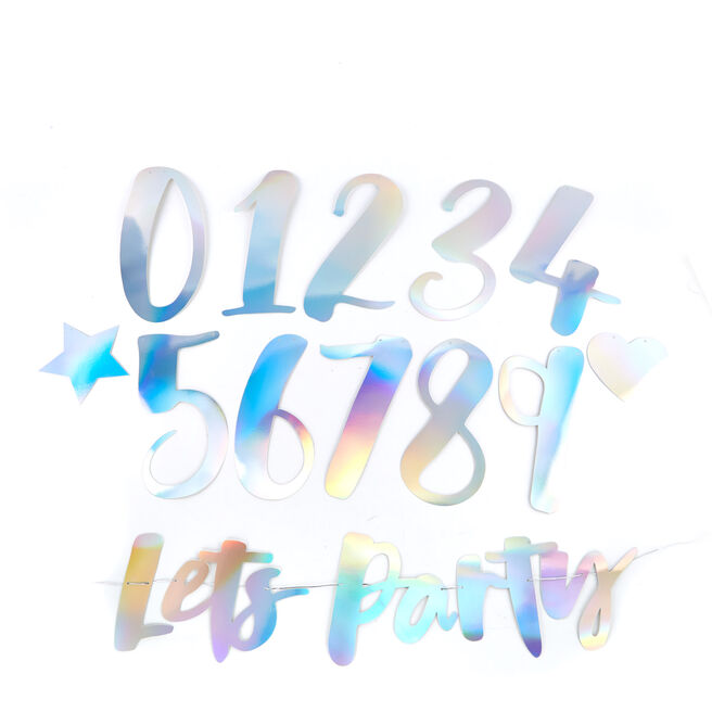 Silver Lets Party Banner Kit