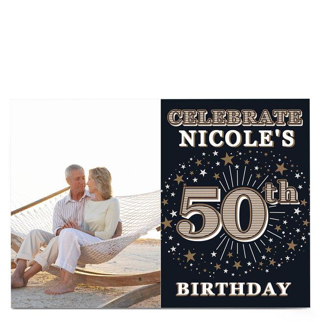 Photo 50th Birthday Invitation - Gold Stars