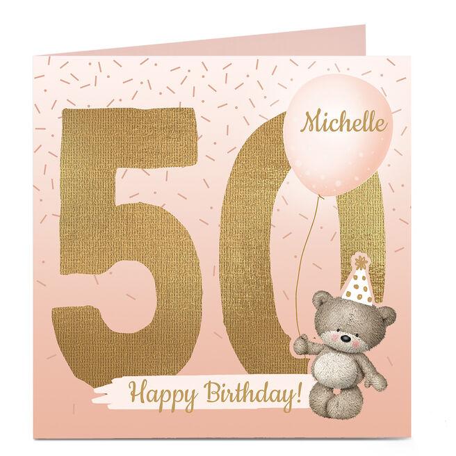 Personalised Hugs Bear 50th Birthday Card - Any Name