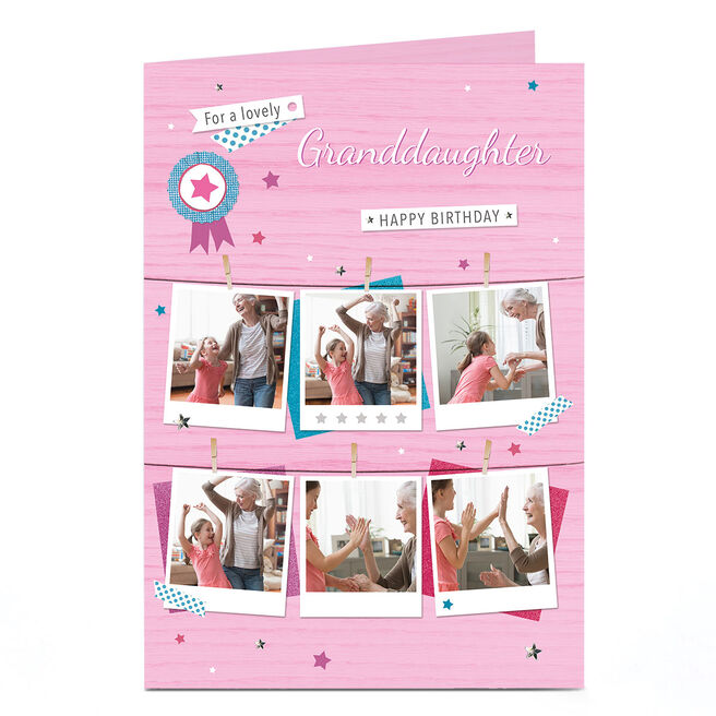 Photo Birthday Card - Pink Polaroids, Granddaughter