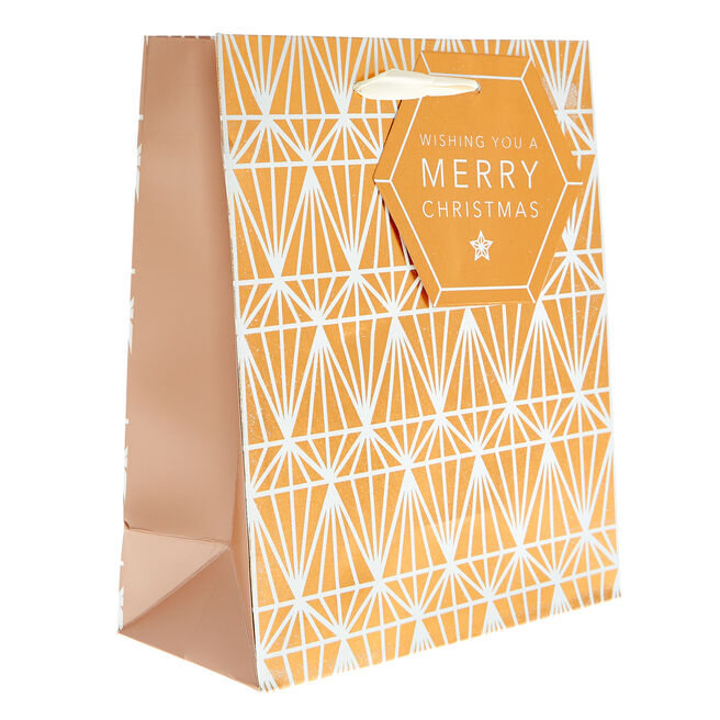 Small Portrait Copper Diamonds Christmas Gift Bag