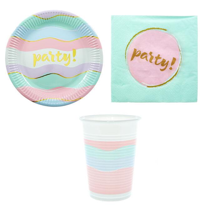 Pastel Party Tableware Bundle - 8 Guests
