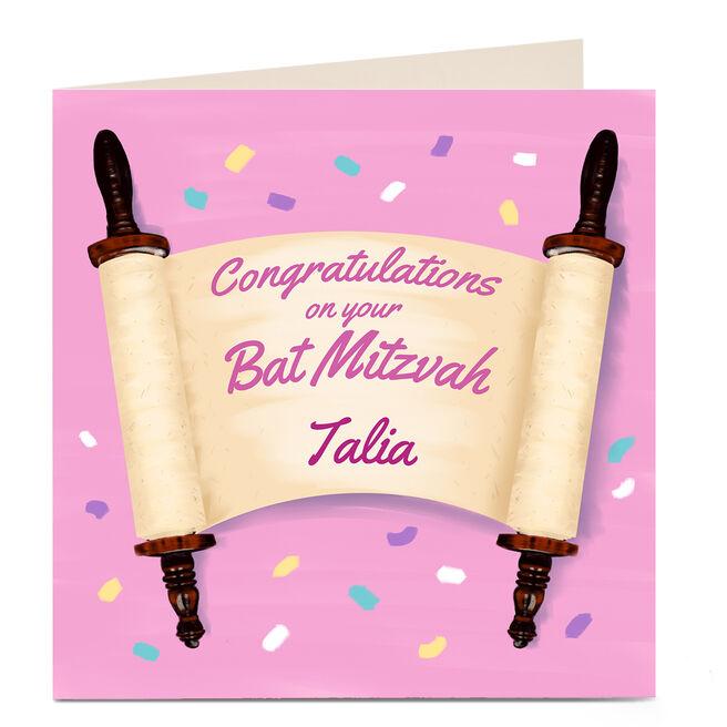 Personalised Bat Mitzvah Card - Congratulations Scroll
